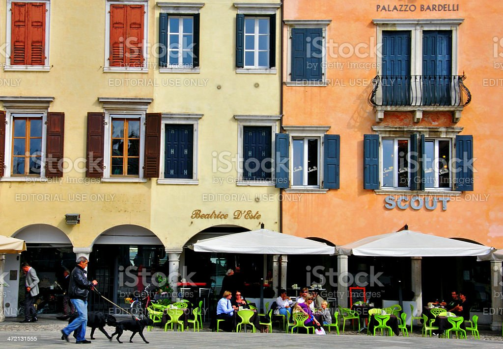 Italian Street, Udine cityscape stock photo