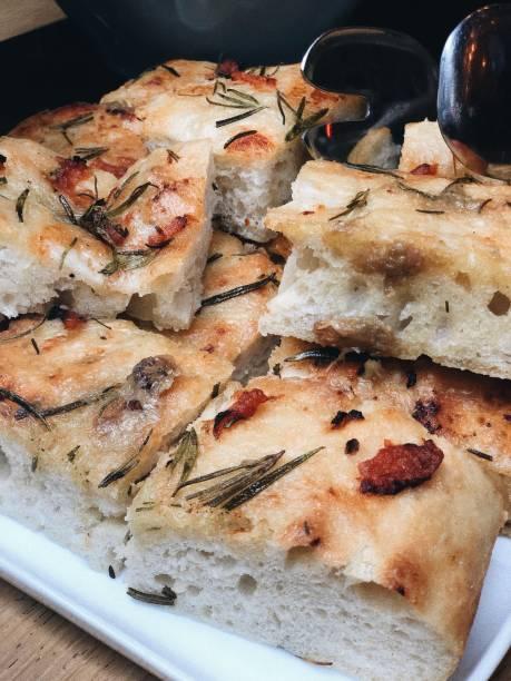 Italian style focaccia bread stock photo