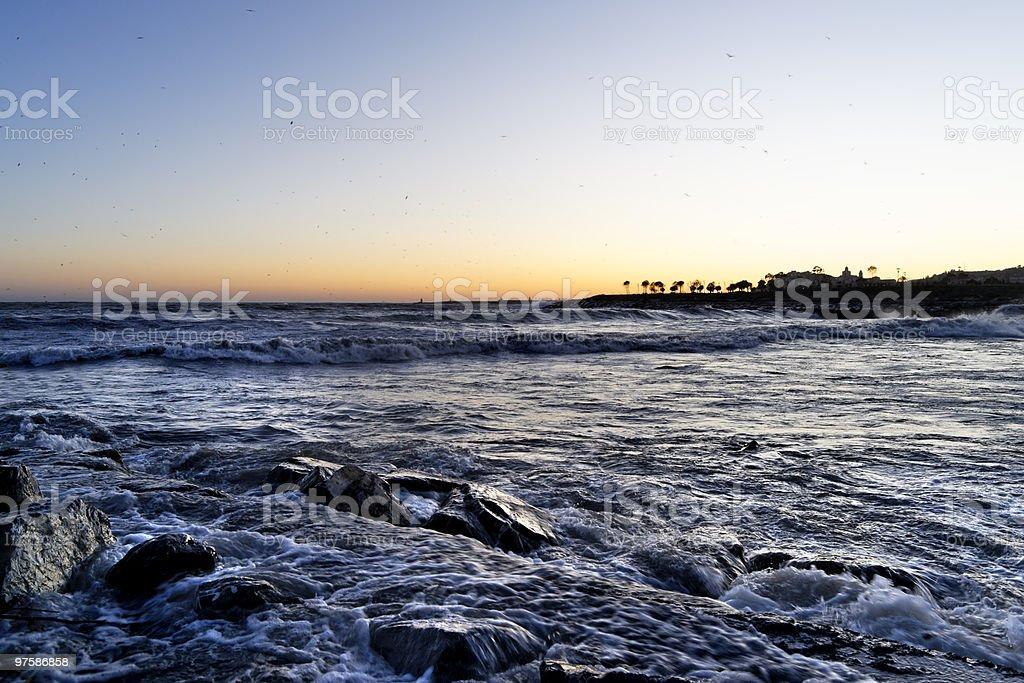 Italienne coucher du soleil. Imperia, en Italie. photo libre de droits