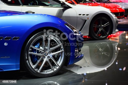 Frankfurt, Germany - September, 15th, 2015: The presentation of Maserati supercars on the motor show. These vehicles are the ones of the most wanted and expensive cars in the world.