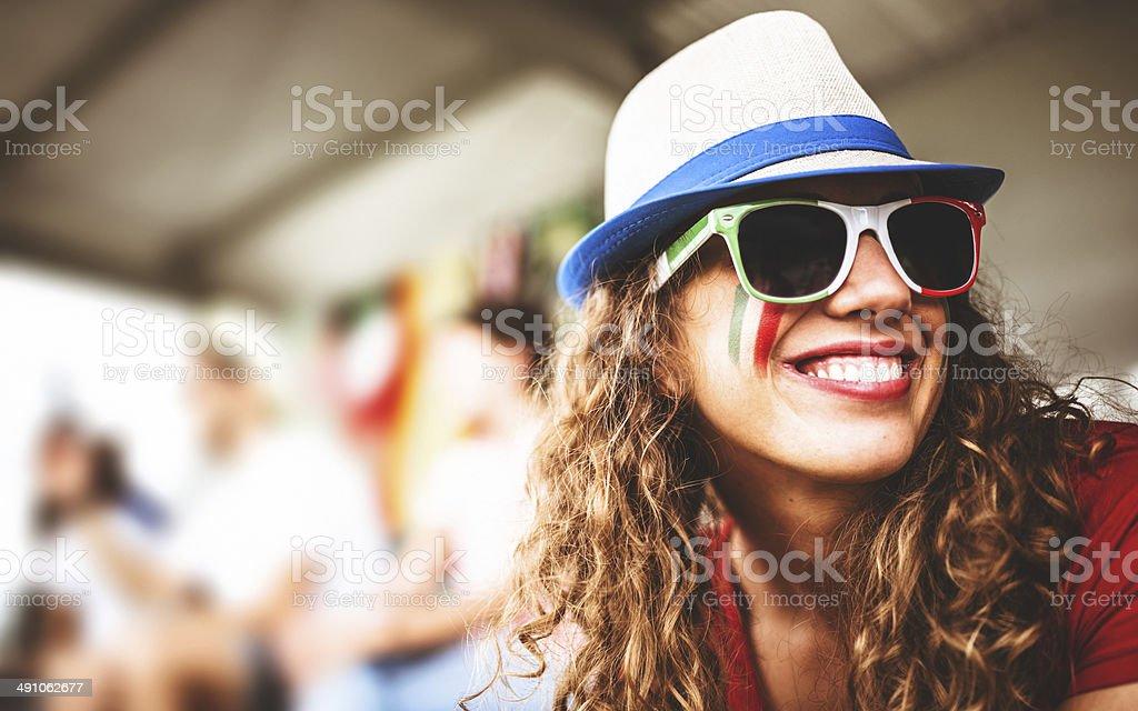 italian supporter woman at the stadium stock photo
