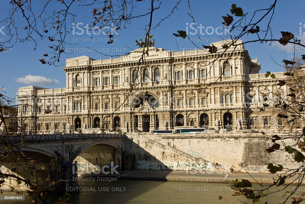 Italian Supreme Court of Cassation behind the trees stock photo