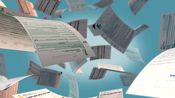 italian taxes concept several italian tax forms flying (3d render) bureaucracy stock pictures, royalty-free photos & images
