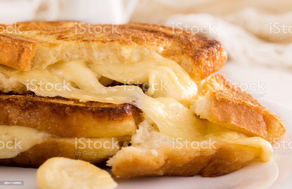 Italian toast sandwich with white bread and mozzarella cheese fried in oil. Mediterranean meal. royalty-free stock photo