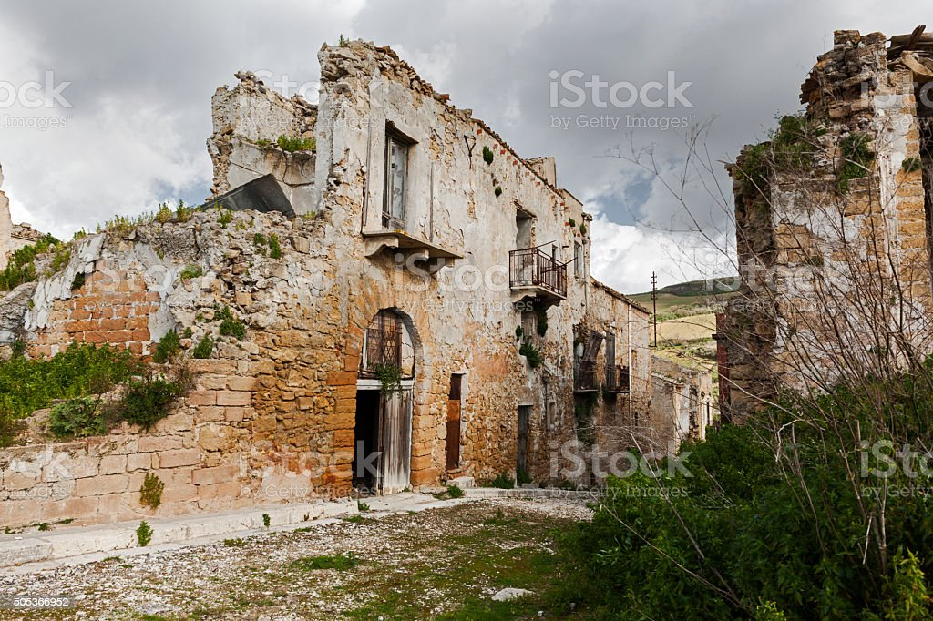 Italian town abandoned after earth quake. stock photo