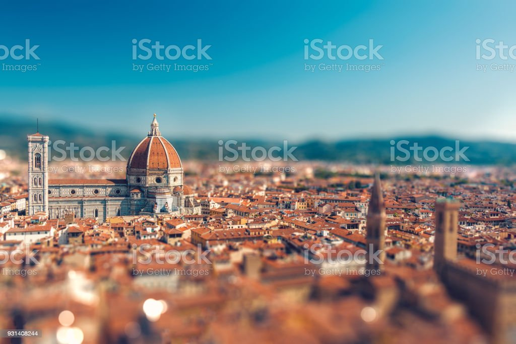 Italian town with tilt-shift effect stock photo