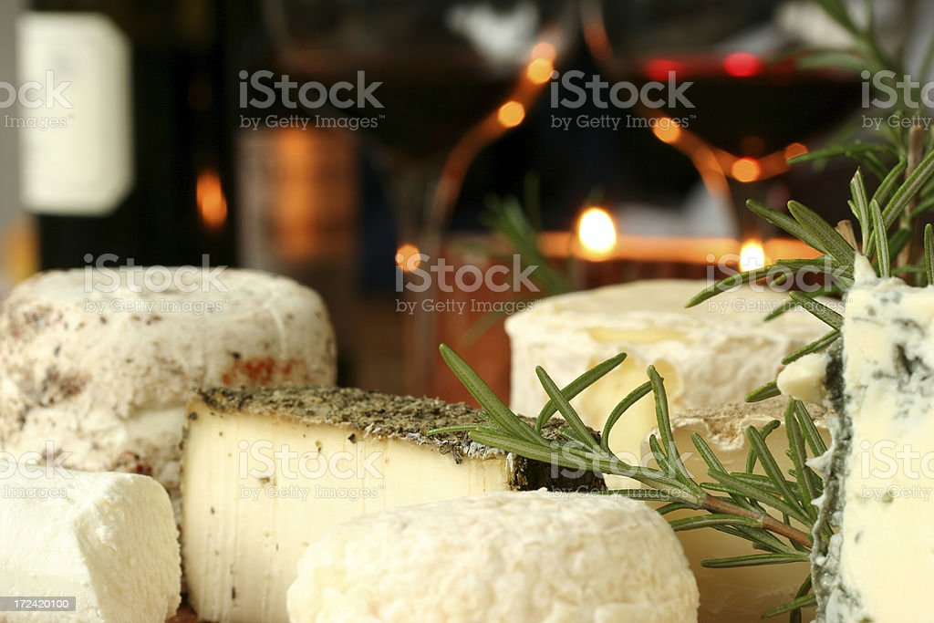 Italian traditional cheese and red wine royalty-free stock photo
