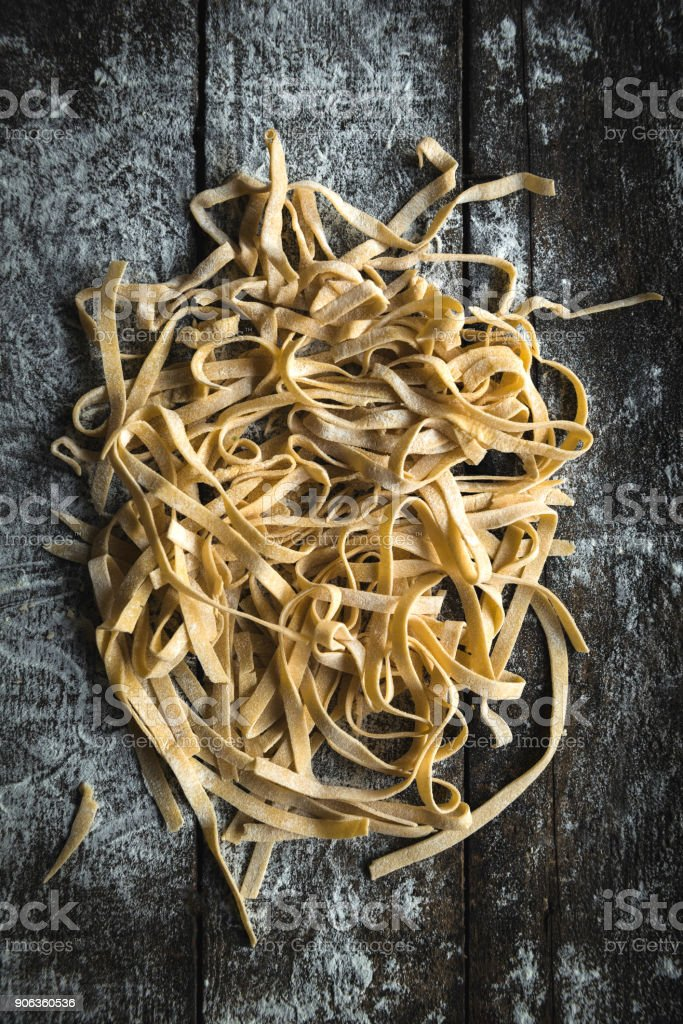 Italian traditional tagliatelle stock photo