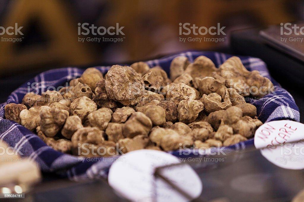 Italian truffles stand stock photo