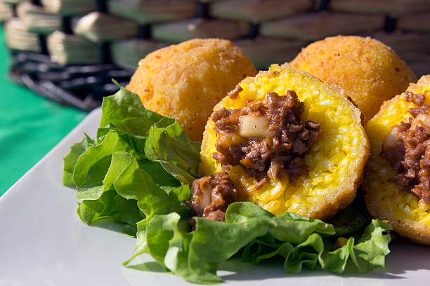 Italian Vegan Arancini - Sicilian Stuffed Rice Balls stock photo