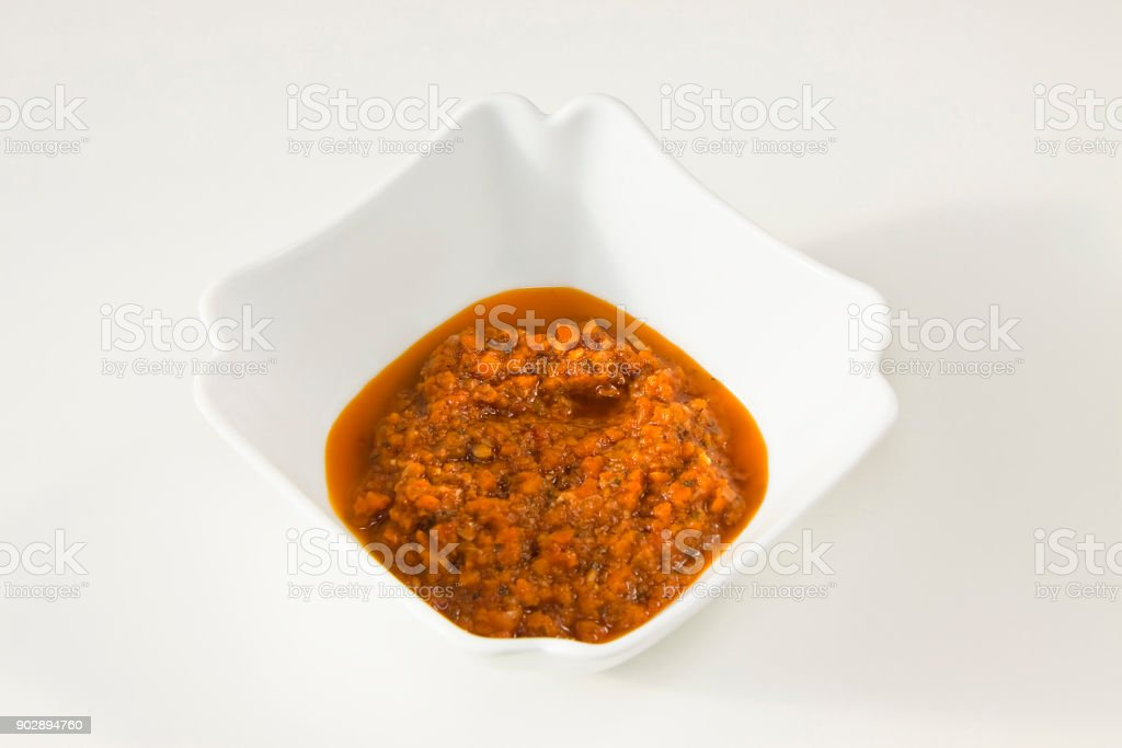 Italian vegetarian sauce homemade contained in a white ceramic stock photo