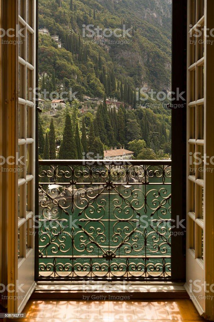 Italian Villa View in Varenna Lake Como stock photo