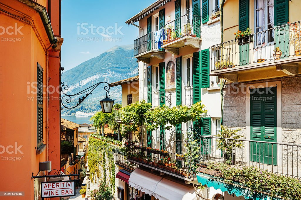 Italian Village Bellagio at Lake Como stock photo
