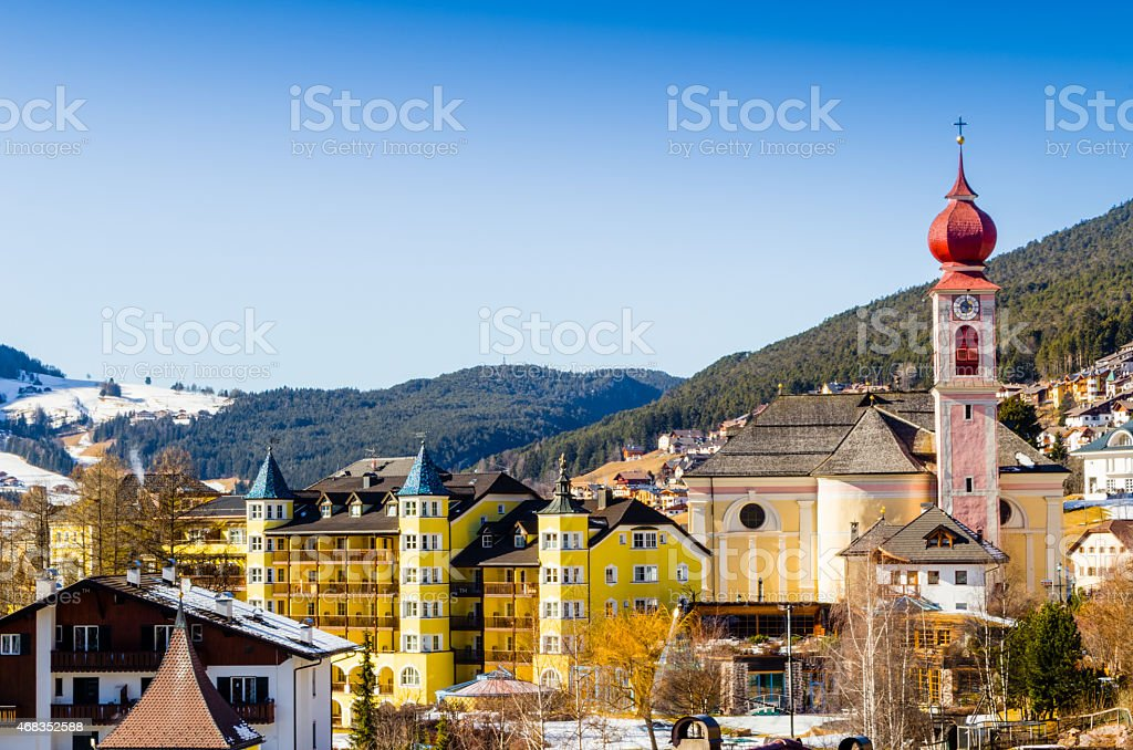 Italian village in Dolomites stock photo