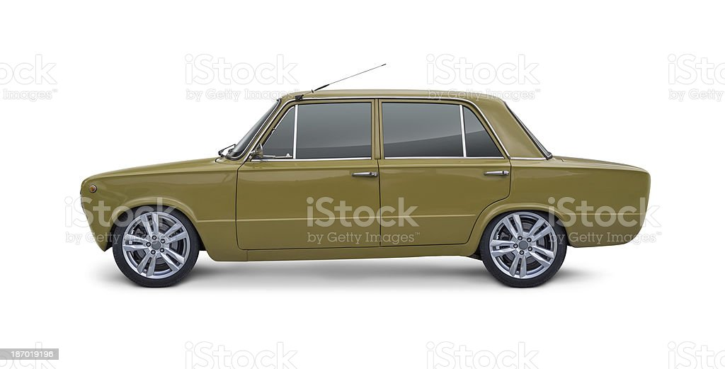 Italian Vintage Car Side view of Italian small vintage car with special wheels. Isolated on white background. 1960-1969 Stock Photo