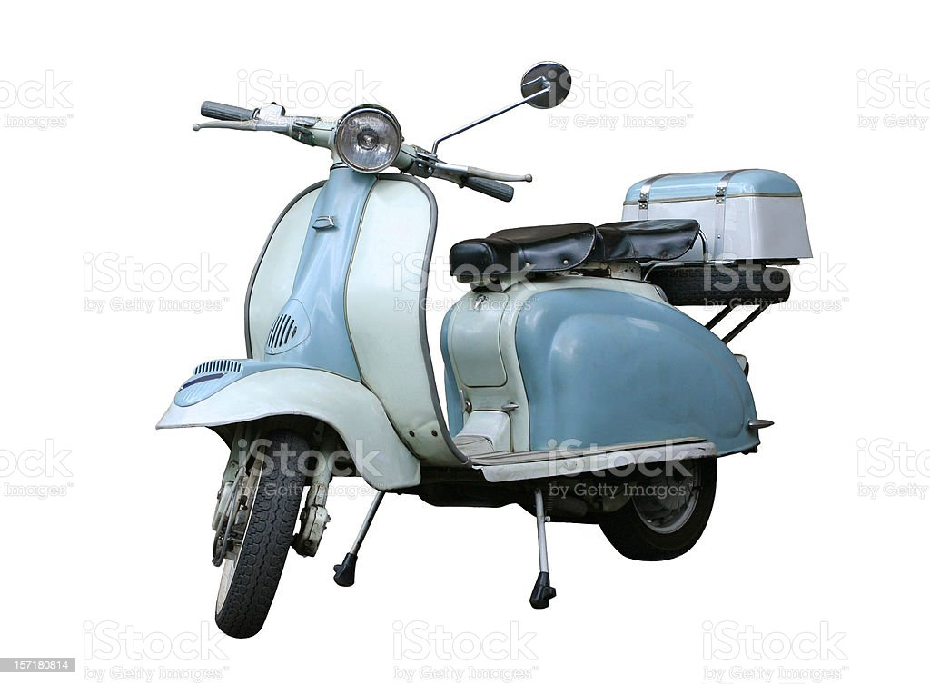 Italian vintage scooter isolated on white, Rome Italy stock photo