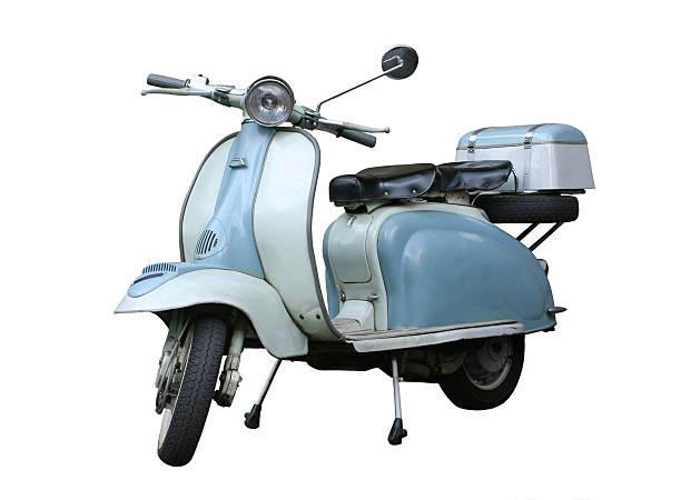italiana scooter vintage aislado sobre blanco, roma, italia - vintage vespa fotografías e imágenes de stock
