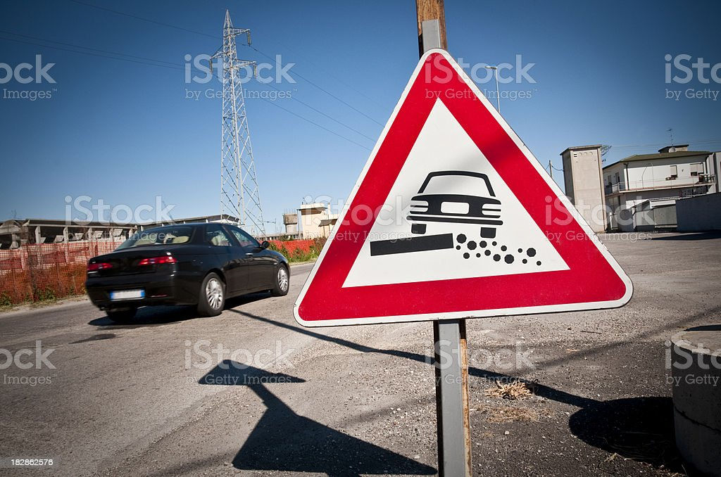 italian warning sign stock photo