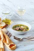 Italian wedding soup with sausage meatballs and orzo pasta
