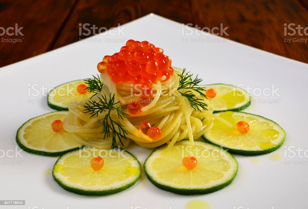 Italian Wholemeal Pasta. Copy space. Top view. stock photo