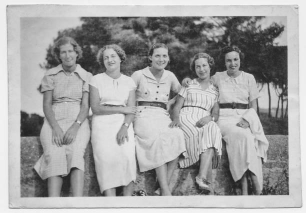 Italian women friends in 1934 stock photo