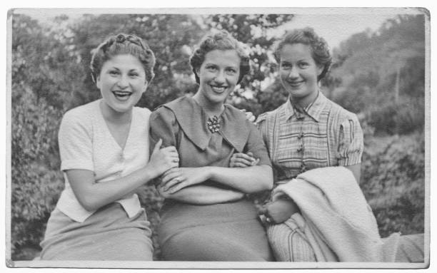 italian women friends in 1934 - the past stock photos and pictures