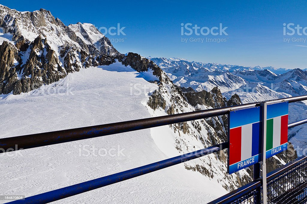 Italian-French border on the Mont Blanc massif stock photo