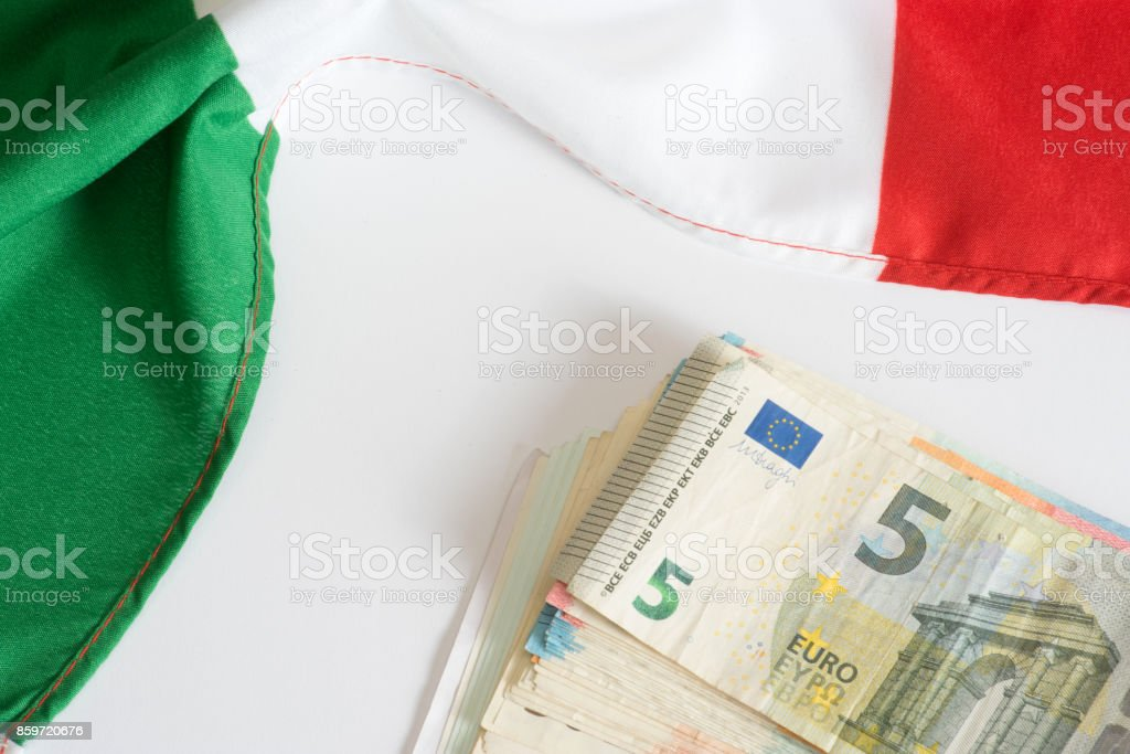 Italienische Flagge und Euro Geld - Foto stock royalty-free di Affari finanza e industria