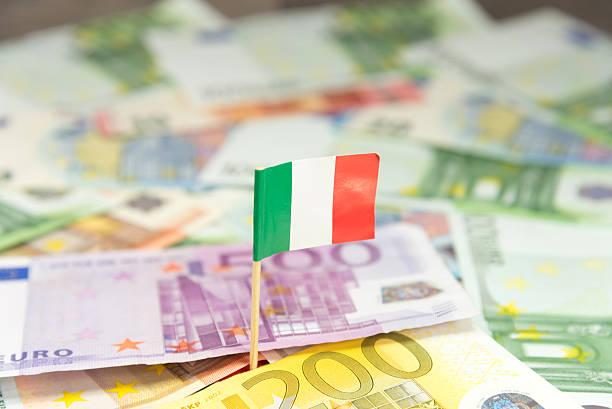 Italienische Flagge und Geld stock photo