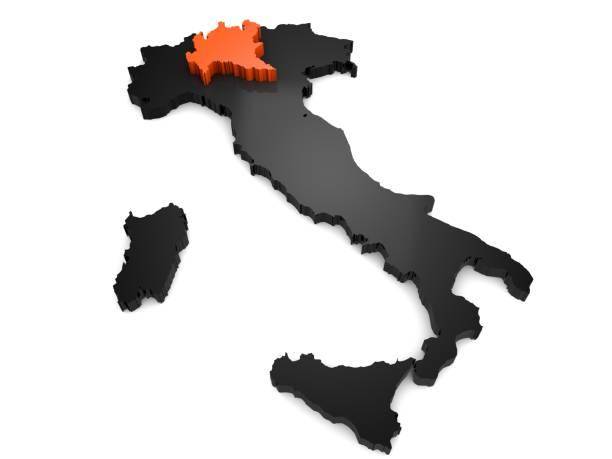 itália mapeiam 3d preto e laranja, com a região da lombardia realçado. 3d render - lombardia - fotografias e filmes do acervo