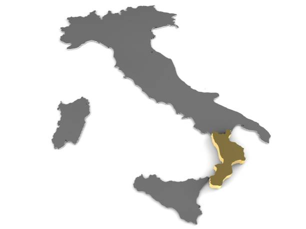 italy 3d metallic map, whith calabria region highlighted 3d render - calabria map foto e immagini stock