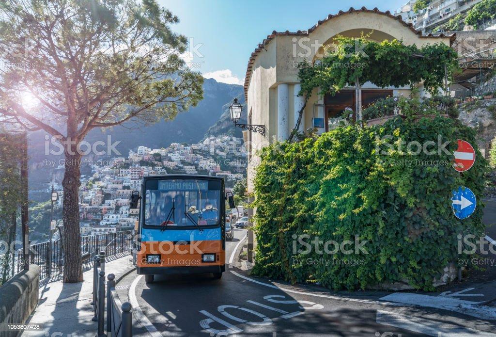 Italy. Amalfi Coast. Positano. Public transportation - foto stock