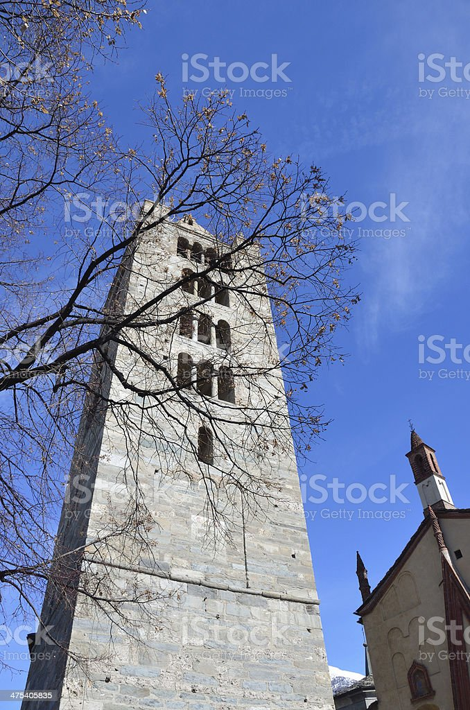 Italy, Aosta, ancient Church of Peter and Urs. stock photo