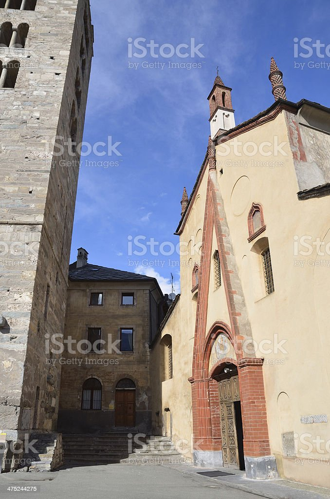 Italy, Aosta, ancient Church Peter and Urs. stock photo