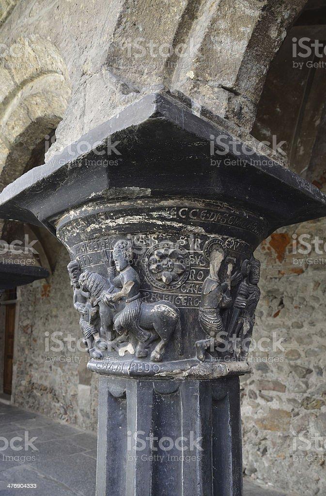 Italy, Aosta, ancient Church Peter and Urs, Roman column stock photo