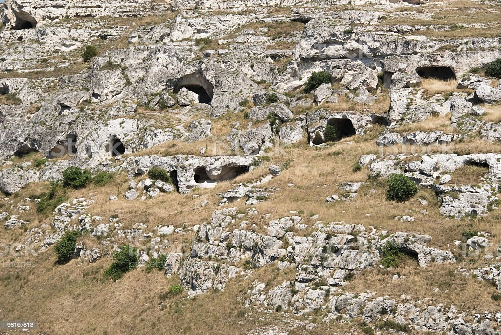 Italy, Basilicata, Matera - Some caverns royalty-free stock photo