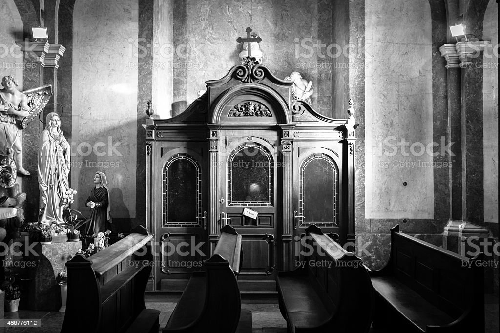Italy. Church confessional stock photo