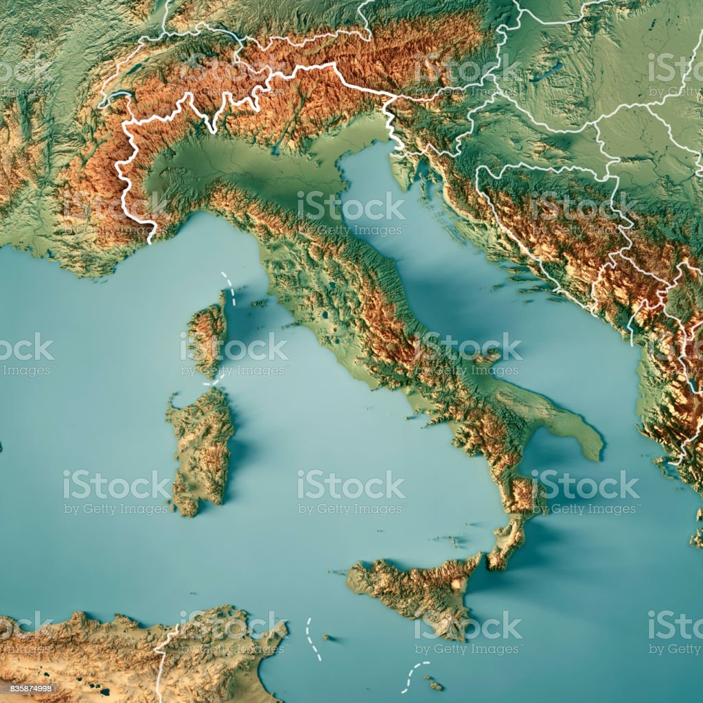 Italy Country 3D Render Topographic Map Border stock photo