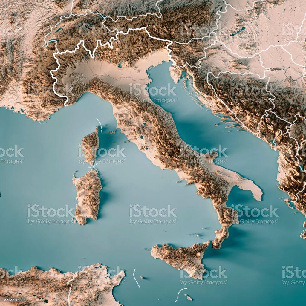 イタリア中立的な国境 3 D のレンダリングの地形図 ロイヤリティフリーストックフォト