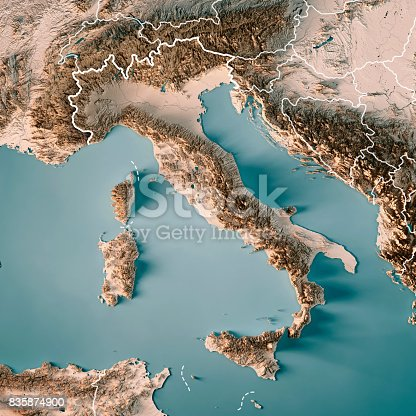 3D Render of a Topographic Map of Italy. All source data is in the public domain. Boundaries Level 0: Humanitarian Information Unit HIU, U.S. Department of State (database: LSIB) http://geonode.state.gov/layers/geonode%3ALSIB7a_Gen Relief texture and Rivers: SRTM data courtesy of USGS. URL of source image:  https://e4ftl01.cr.usgs.gov//MODV6_Dal_D/SRTM/SRTMGL1.003/2000.02.11/ Water texture: SRTM Water Body SWDB: https://dds.cr.usgs.gov/srtm/version2_1/SWBD/