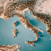 3D Render of a Topographic Map of Italy.\nAll source data is in the public domain.\nBoundaries Level 0: Humanitarian Information Unit HIU, U.S. Department of State (database: LSIB)\nhttp://geonode.state.gov/layers/geonode%3ALSIB7a_Gen\nRelief texture and Rivers: SRTM data courtesy of USGS. URL of source image: \nhttps://e4ftl01.cr.usgs.gov//MODV6_Dal_D/SRTM/SRTMGL1.003/2000.02.11/\nWater texture: SRTM Water Body SWDB:\nhttps://dds.cr.usgs.gov/srtm/version2_1/SWBD/