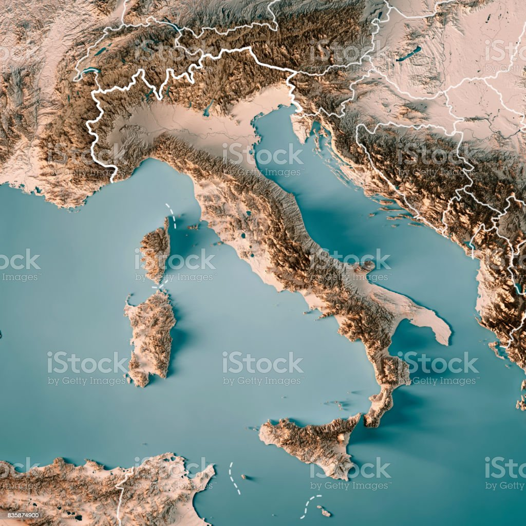 Italy Country 3D Render Topographic Map Neutral Border stock photo