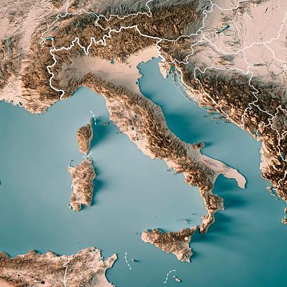 イタリア中立的な国境 3 D のレンダリングの地形図 - 3Dのストックフォトや画像を多数ご用意