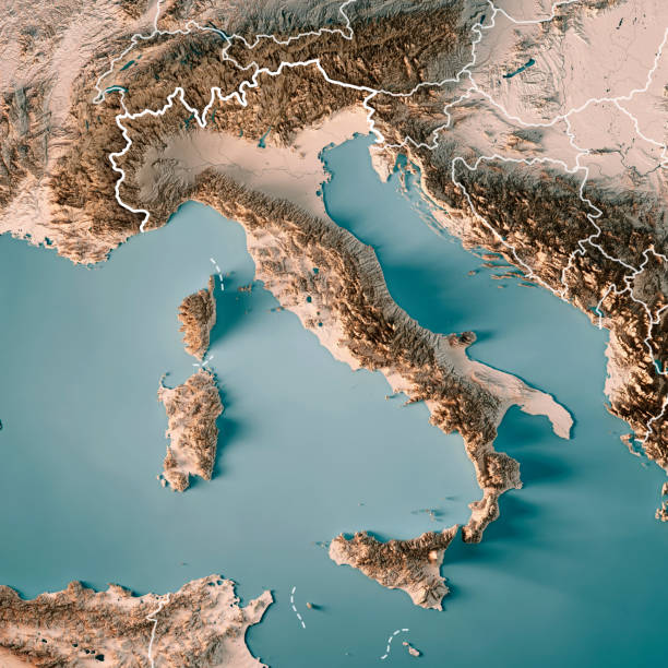 italy country 3d render topographic map neutral border - italy map stock photos and pictures
