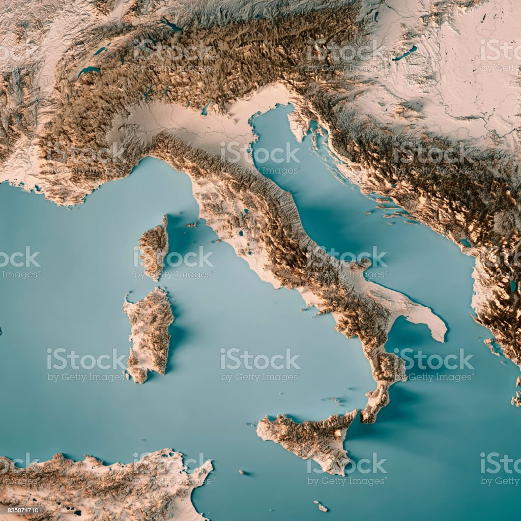 Italy Country 3D Render Topographic Map Neutral stock photo