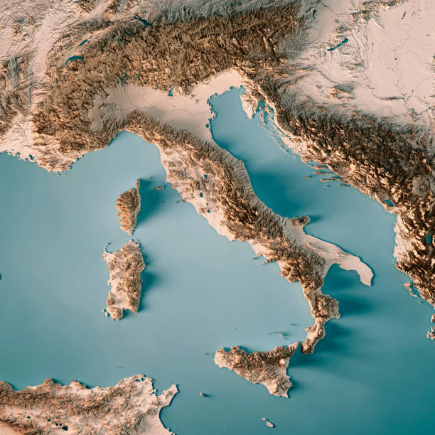 italy country 3d render topographic map neutral - italy map stock photos and pictures