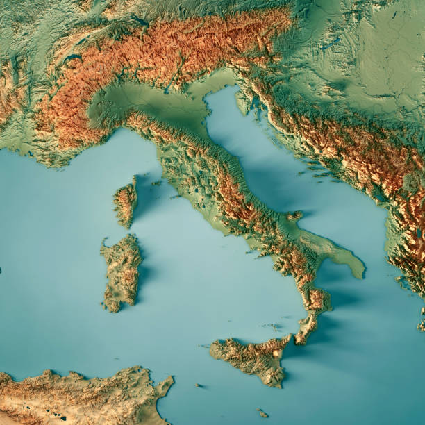Italy Country 3D Render Topographic Map stock photo