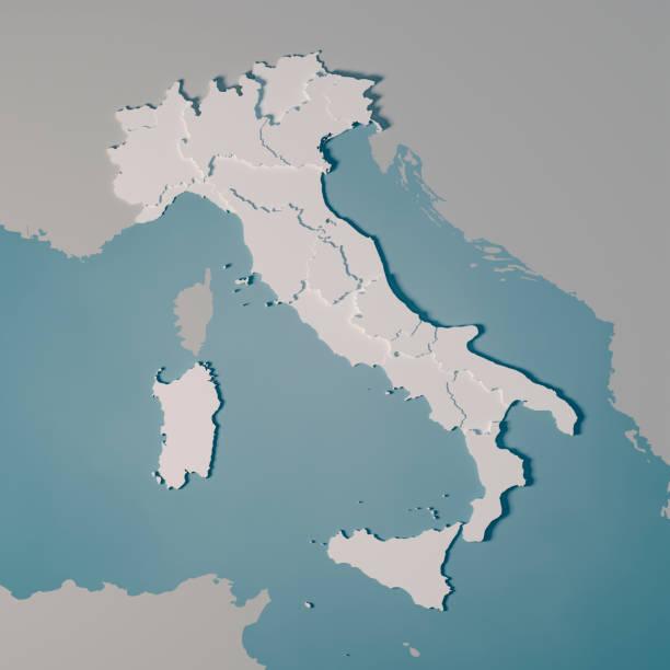 Italien Landkarte Regionen Administrative Abteilungen 3D Render – Foto