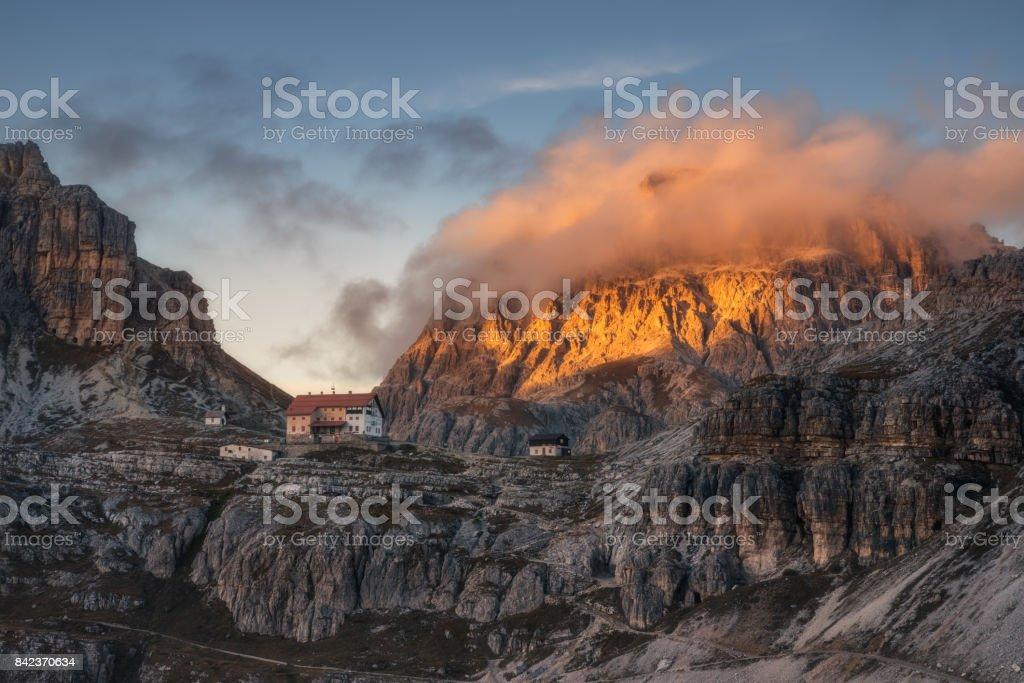 Italy. Dolomites. Tre Cime di Lavaredo. On the road to rifugio A.Locatelli stock photo