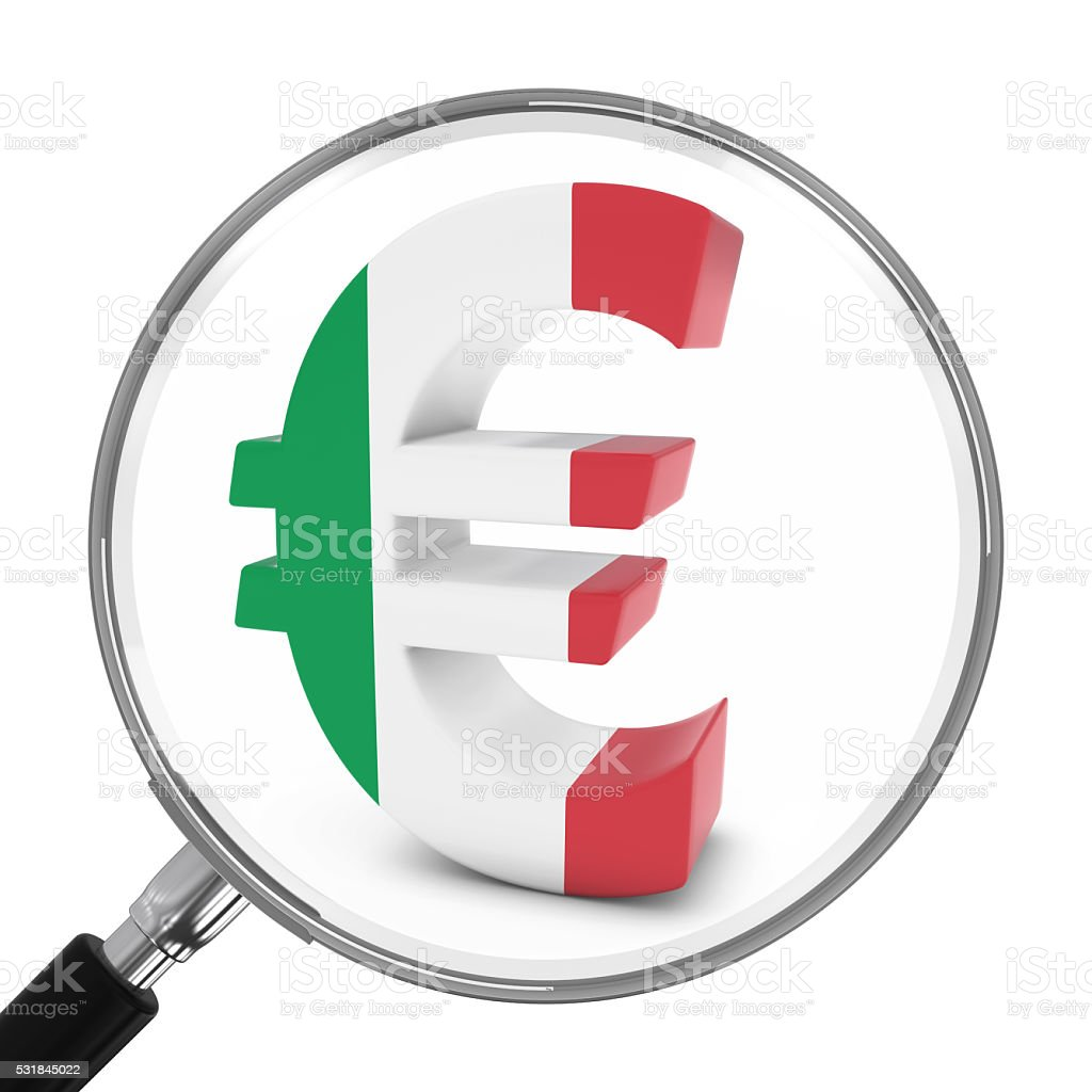 Italy Finance Concept Italian Euro Symbol Under Magnifying Glass